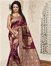 image of Traditional Banarasi Silk Maroon Saree With Jacquard Work