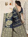 photo of Jacquard Work Fancy Banarasi Silk Traditional Dark Grey Saree