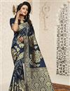 image of Fancy Function Wear Banarasi Silk Dark Grey Saree With Jacquard Work