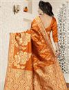photo of Jacquard Work Orange Traditional Saree In Banarasi Silk