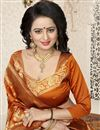 picture of Jacquard Work Orange Traditional Saree In Banarasi Silk