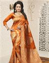 image of Jacquard Work Orange Traditional Saree In Banarasi Silk