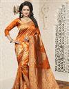 image of Jacquard Work Orange Traditional Saree In Banarasi Silk