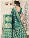 photo of Jacquard Work Function Wear Banarasi Silk Saree In Teal