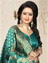 picture of Fancy Function Wear Banarasi Silk Teal Saree With Jacquard Work