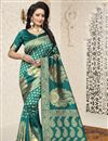 image of Fancy Function Wear Banarasi Silk Teal Saree With Jacquard Work