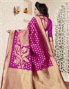photo of Traditional Dark Pink Banarasi Silk Saree With Jacquard Work