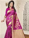 image of Traditional Dark Pink Banarasi Silk Saree With Jacquard Work