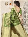 photo of Jacquard Work Function Wear Banarasi Silk Saree In Green