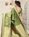 photo of Jacquard Work Function Wear Banarasi Silk Saree In Green