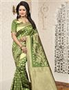 image of Jacquard Work Function Wear Banarasi Silk Saree In Green