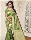 image of Jacquard Work Function Wear Banarasi Silk Saree In Green
