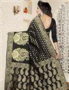 photo of Banarasi Silk Traditional Function Wear Black Saree With Jacquard Work