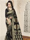 image of Traditional Black Banarasi Silk Saree With Jacquard Work
