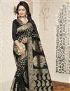 image of Banarasi Silk Traditional Function Wear Black Saree With Jacquard Work