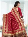 photo of Weaving Work On Red Designer Saree In Banarasi Silk Fabric