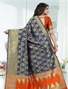 photo of Weaving Work Banarasi Silk Navy Blue Party Wear Saree With Blouse