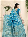 photo of Weaving Work On Designer Saree In Banarasi Silk Fabric Sky Blue Color With Likable Blouse