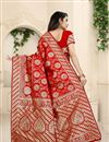 photo of Weaving Work Designs On Red Color Function Wear Saree In Banarasi Silk Fabric With Classic Blouse