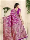 photo of Magenta Color Party Wear Saree In Banarasi Silk Fabric With Weaving Work And Beautiful Blouse