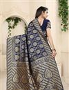 photo of Banarasi Silk Fabric Navy Blue Color Festive Wear Saree With Weaving Work And Attractive Blouse