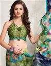 photo of Mehendi Green Color Printed Party Wear Satin Georgette Saree with Digital Print Work