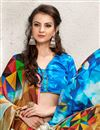 photo of Printed Party Wear Digital Print Satin Georgette Saree in Blue-Beige Color