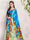 image of Printed Party Wear Digital Print Satin Georgette Saree in Blue-Beige Color
