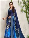 image of Digital Print Blue Party Wear Satin Georgette Saree with Dhupion Silk Blouse
