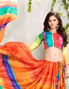 photo of Orange-Green Color Satin Georgette Digital Print Party Saree with Dhupion Silk Blouse