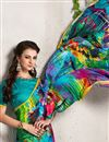 photo of Sky Blue Color Digital Print Satin Georgette Saree with Dhupion Silk Blouse