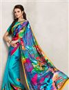 image of Sky Blue Color Digital Print Satin Georgette Saree with Dhupion Silk Blouse