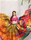 photo of Printed Party Wear Digital Print Satin Georgette Saree in Orange-Yellow Color