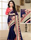 image of Navy Blue Party Wear Saree with Dhupion Blouse