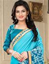 photo of Sky Blue Fancy Party Saree with Blouse