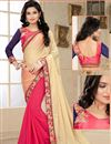 image of Beige-Pink Chiffon-Georgette Party Wear Saree