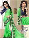 image of Green Satin-Chiffon Party Wear Saree
