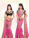 image of Pink Designer Chiffon Saree with Embroidery