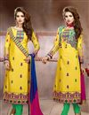 image of Yellow Cotton Designer Salwar Suit with Work