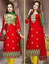 image of Red Party Wear Designer Cotton Salwar Kameez