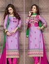 image of Purple Straight Cut Designer Cotton Suit