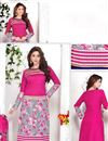 photo of Pink-Grey Party Wear Straight Cut Cotton Suit