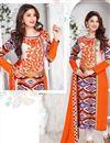 image of Orange Poplin Print Designer Cotton Salwar Kameez