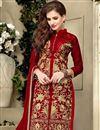 photo of Red Party Wear Designer Cotton Salwar Kameez