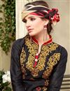 photo of Black Cotton Party Wear Salwar Suit with Work