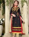 image of Black Cotton Party Wear Salwar Suit with Work