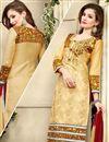 photo of Beige Designer Party Wear Cotton Salwar Kameez