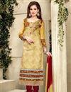 image of Beige Designer Party Wear Cotton Salwar Kameez