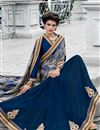 photo of Blue Color Festive Wear Satin And Georgette Saree With Unstitched Raw Silk Blouse