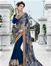 image of Blue Color Festive Wear Satin And Georgette Saree With Unstitched Raw Silk Blouse